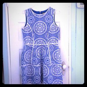 Taylor blue & white sleeveless linen dress size 12